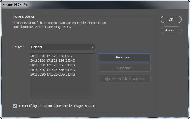 Interface du sélecteur de fichier du module Fusion HDR Pro de Photoshop.