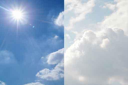 Illustration de 2 types de ciel différents; le 1er avec une lumière dur due au soleil, le 2ième une lumière adoucie par les nuages