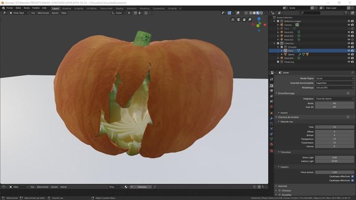 Aperçu de la capture d'écran de la modélisation 3D de la citrouille dans Blender