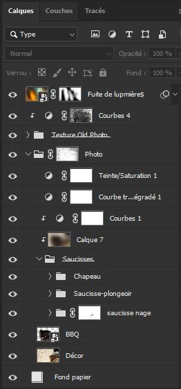 Palette des calques du logiciel Photoshop