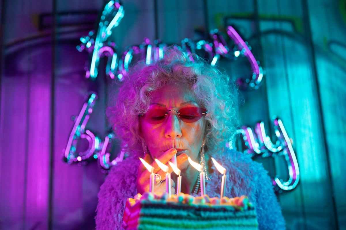 photo of chic grandma lighting her cigarette