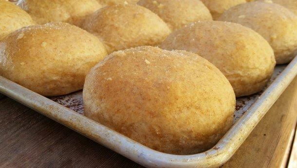 Sea Salt & Butter Topped Whole Wheat Rolls