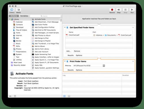 Screenshot of the OS X Automator