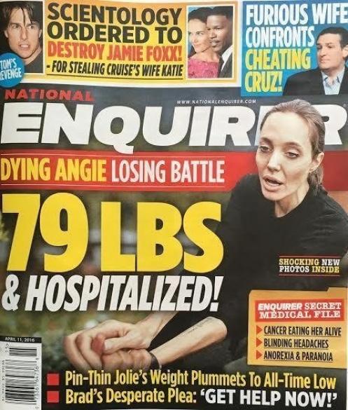 National Enqurier Журнал The National Enquirer разместил фото Джоли на обложке