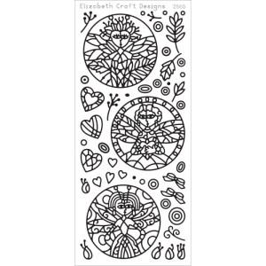 Dragonfly Ladies In Circles Peel-Off Stickers – Black