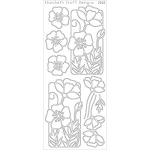 Flower Poppy Peel-Off Stickers – Gold