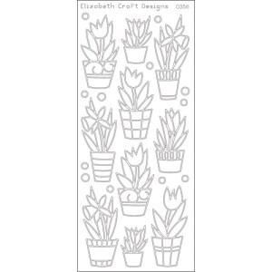 Flowers In Pot Peel Off Stickers – Black