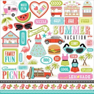 Summer Lovin' Cardstock Stickers 12″X12″