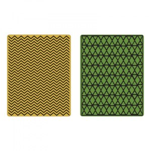 Sizzix Texture Fades Embossing Folders 2PK – Chevron & Lattice Set