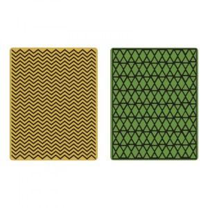 Sizzix Texture Fades Embossing Folders 2PK – Chevron & Lattice Set