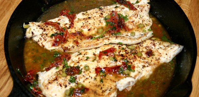 Grilled Trout In Brown Butter White Wine Sauce With  Capers And Sundried Tomatoes