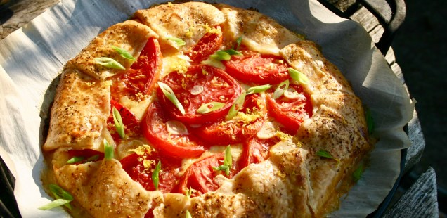 Tomato Galette on the grill