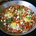 Feta and Parsley topped Shakshouka on the grill