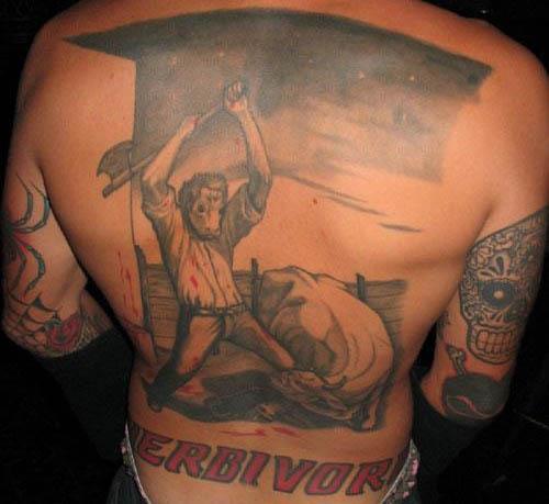 Cow Man Killing Man Cow tattoo Vegan Tattoos Are Hardcore