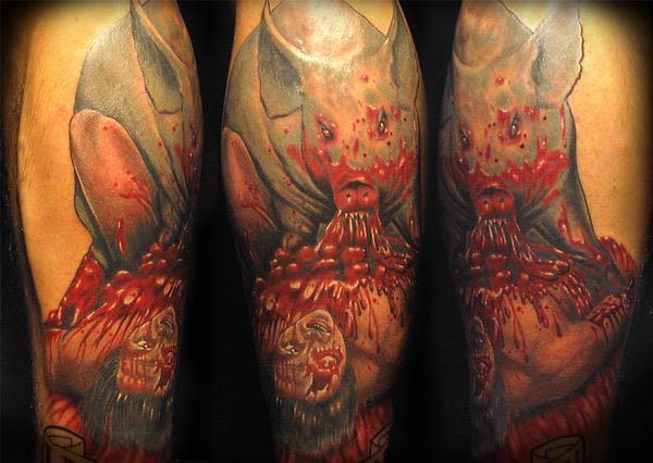 pig eating man tattoo Vegan Tattoos Are Hardcore