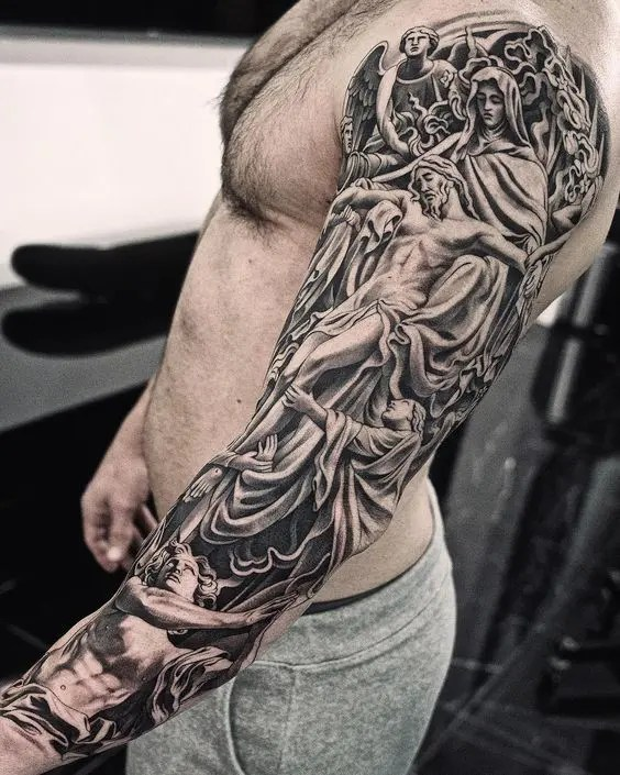 Religious Tattoos Sleeves : religious, tattoos, sleeves, Religious, Tattoos, Ideas,, Designs,, Sketches, InkedWay