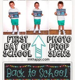 First Day of School Photo Prop Signs... Free Printables! - inkhappi [ 1300 x 650 Pixel ]