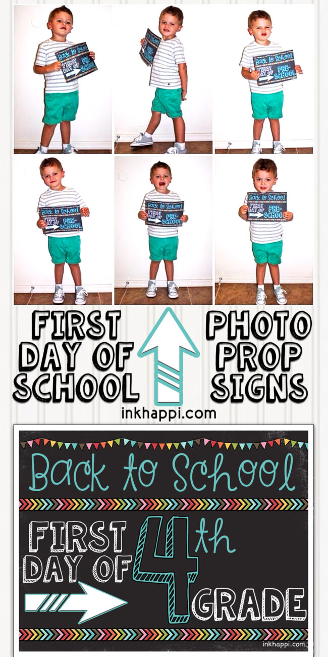 medium resolution of First Day of School Photo Prop Signs... Free Printables! - inkhappi