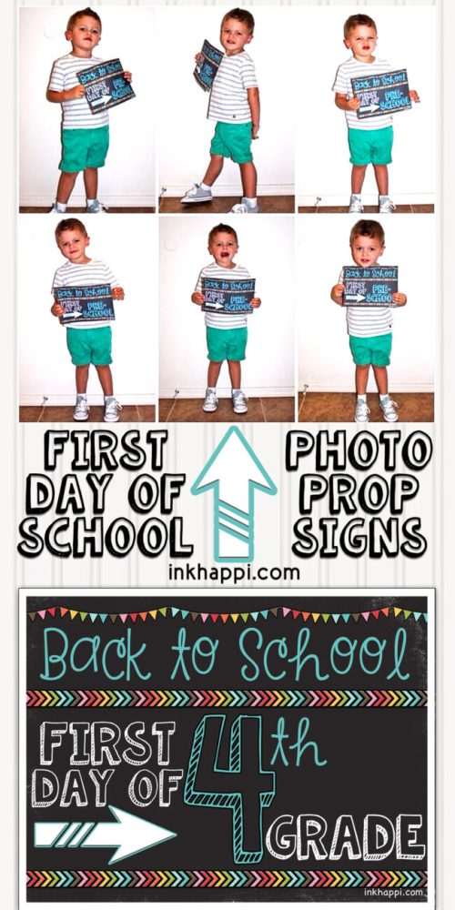 small resolution of First Day of School Photo Prop Signs... Free Printables! - inkhappi