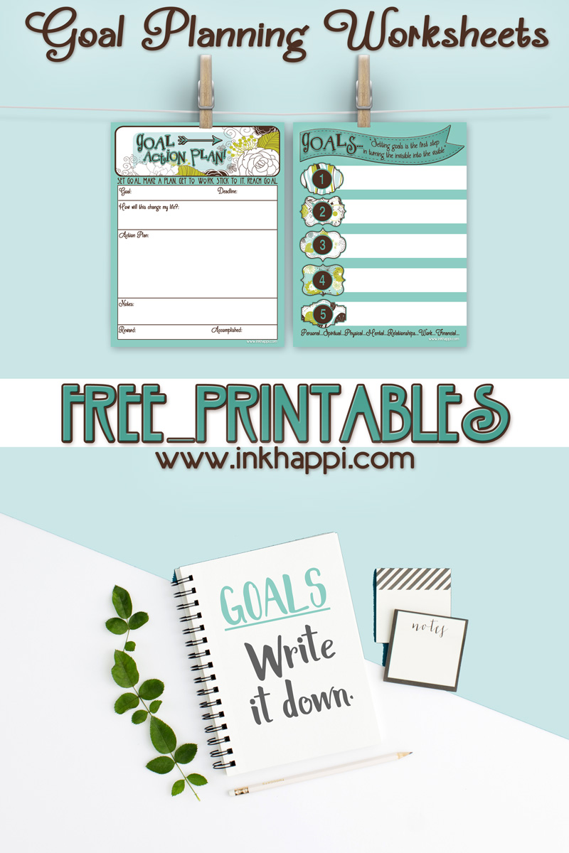 Goal Planning Worksheets with free printables!