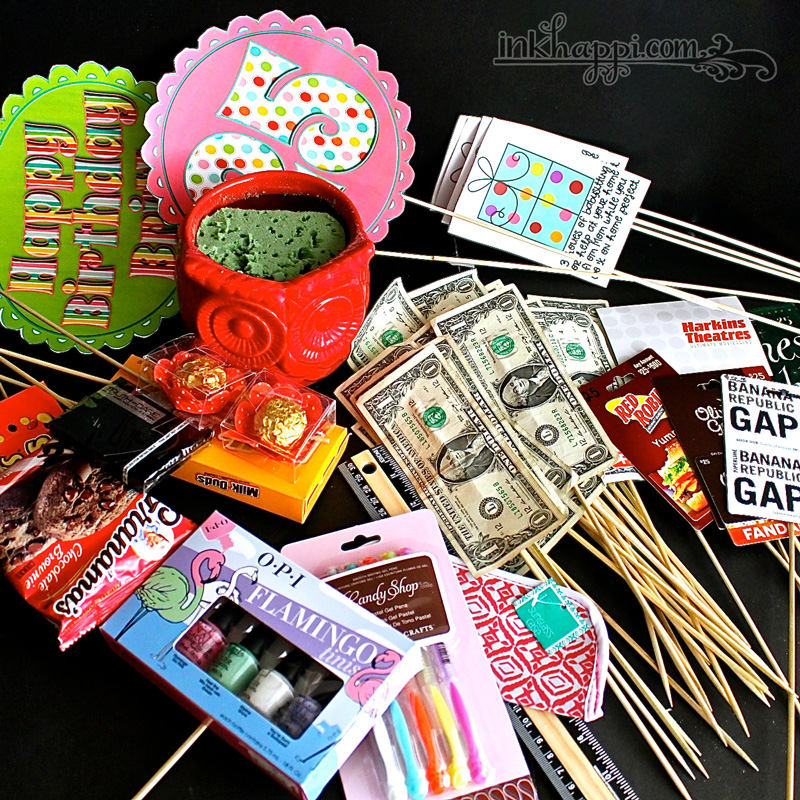 Birthday Gift Basket Idea with Free Printables - inkhappi