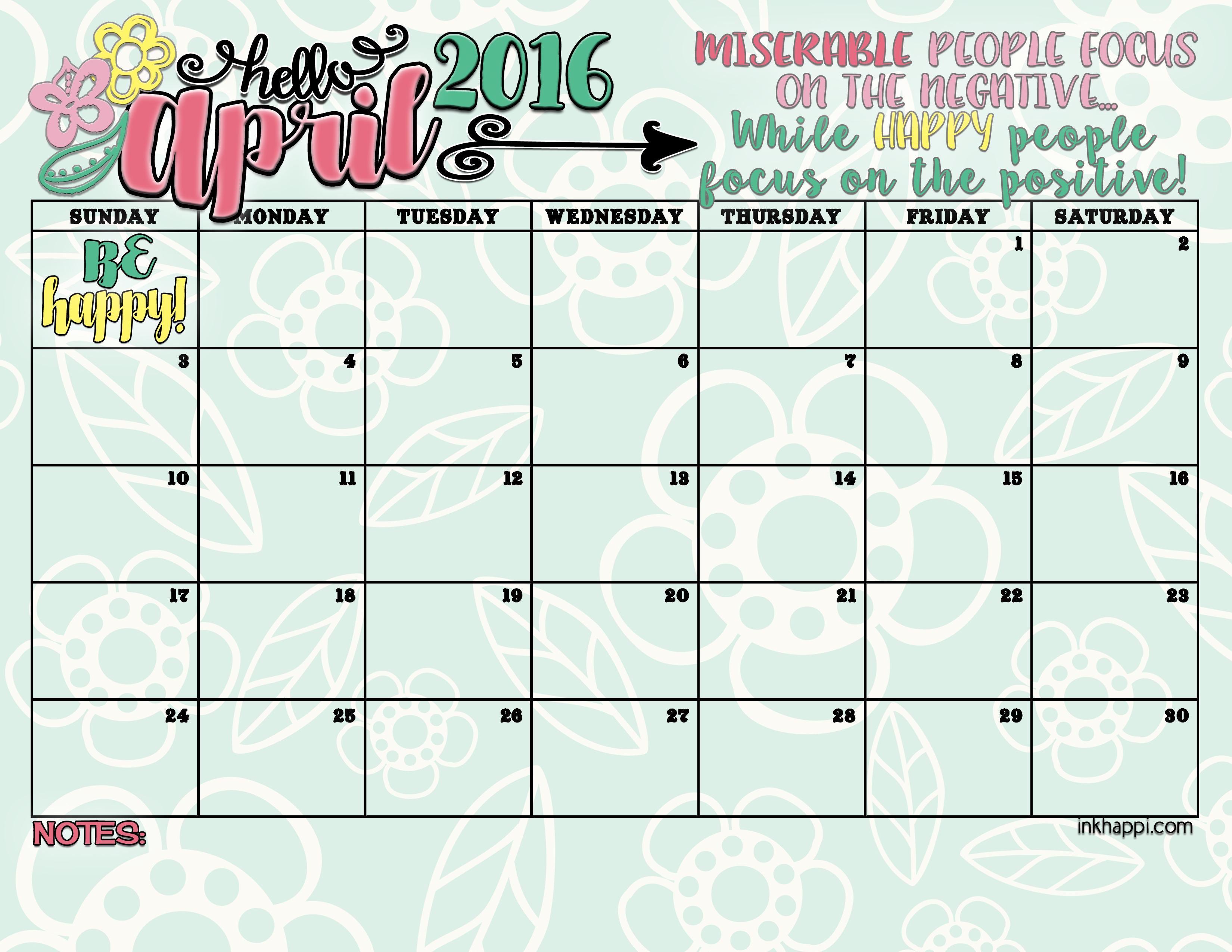 April Calendar Free Printables