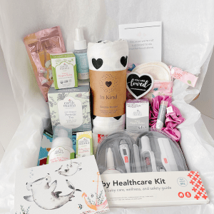 New mom gift box filled with natural and organic essentials for both mom and baby