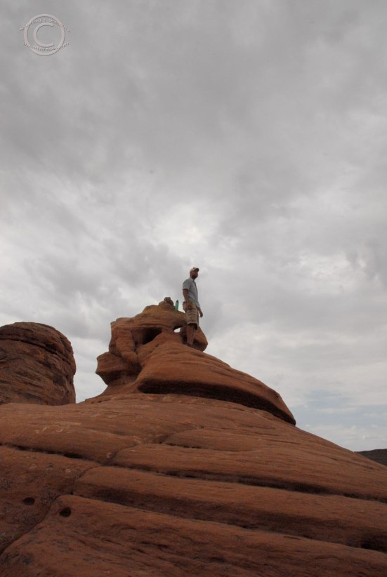 D at the highest point above Delicate Arch