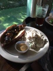 Derrick's Local JV Farms Beer Brat with Spicy Beer Mustard and bacon blue cheese potato salad