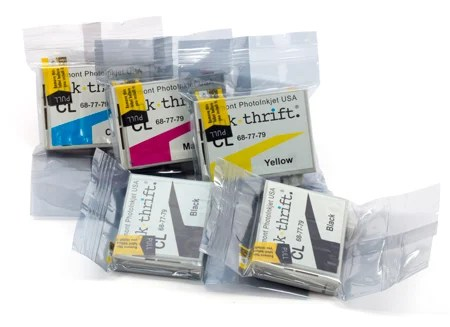 EasyFill pre-filled InkThriftCL ink capsules are available in sets of six or in individual colors in sets of three.
