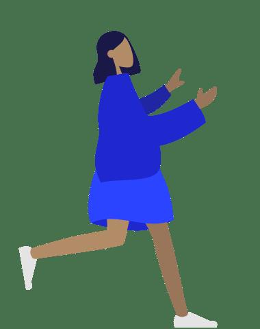 schlichte Grafik einer Frau mit kurzem Rock, ausgestreckten Armen, dunklen Haaren; Das Gesicht ist ohne Augen, Mund und Nase, also ganz neutral. Dunkelblaue Jacke, hellblauer Rock, weiße Schuhe. Sie geht schnell.