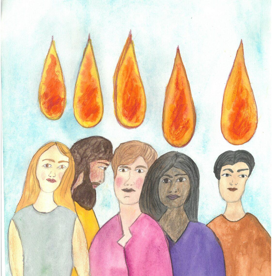 Kinderzeichnung: 5 verschiedene Menschen schauen ernst. Über ihren Köpfen sind tropfenförmige Flammen.