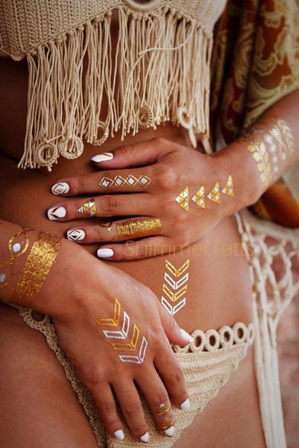 Gold metallic tattoo | Etsy
