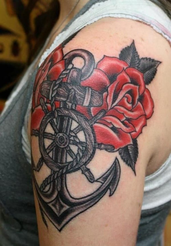 Anchor And Rose Tattoos : anchor, tattoos, Amazing, Anchor, Tattoo, Designs, (with, Meanings)