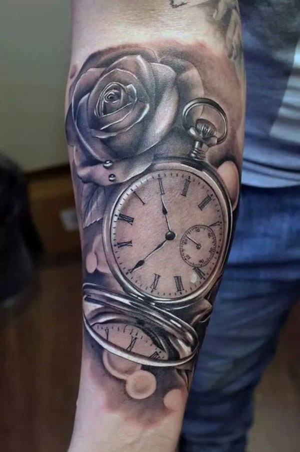 Double Pocket Watch Tattoo : double, pocket, watch, tattoo, Stunning, Antique, Pocket, Watch, Tattoos