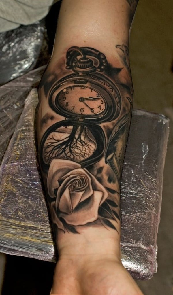 Pocket Watch And Rose Tattoo : pocket, watch, tattoo, Stunning, Antique, Pocket, Watch, Tattoos