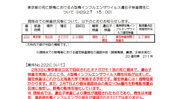 東京都の鳥インフルエンザ