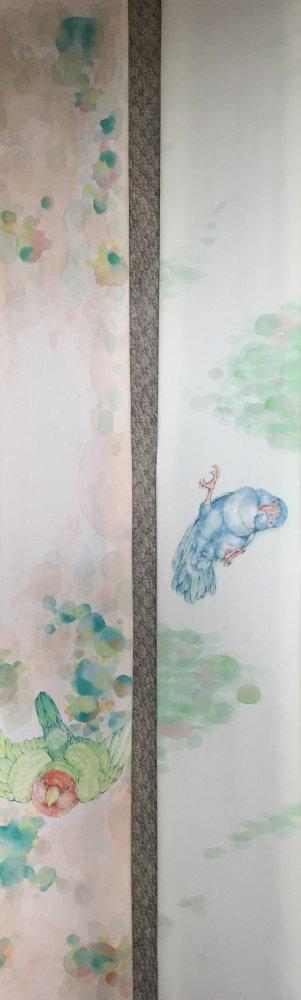 コザクラインコ、オカメインコ、マメルリハインコの染物友禅作品