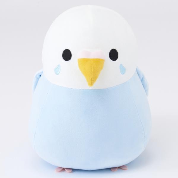 しまむらオンラインストア限定販売の小鳥シリーズ・ダイカットクッションのセキセイインコ(ブルー)