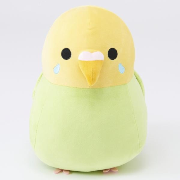 しまむらオンラインストア限定販売の小鳥シリーズ・ダイカットクッションのセキセイインコ(グリーン)