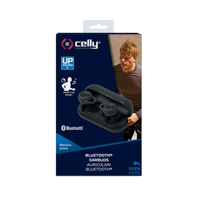 Auricolare Bluetooth IN-EAR con Caricabatterie Portatile Celly col.nero