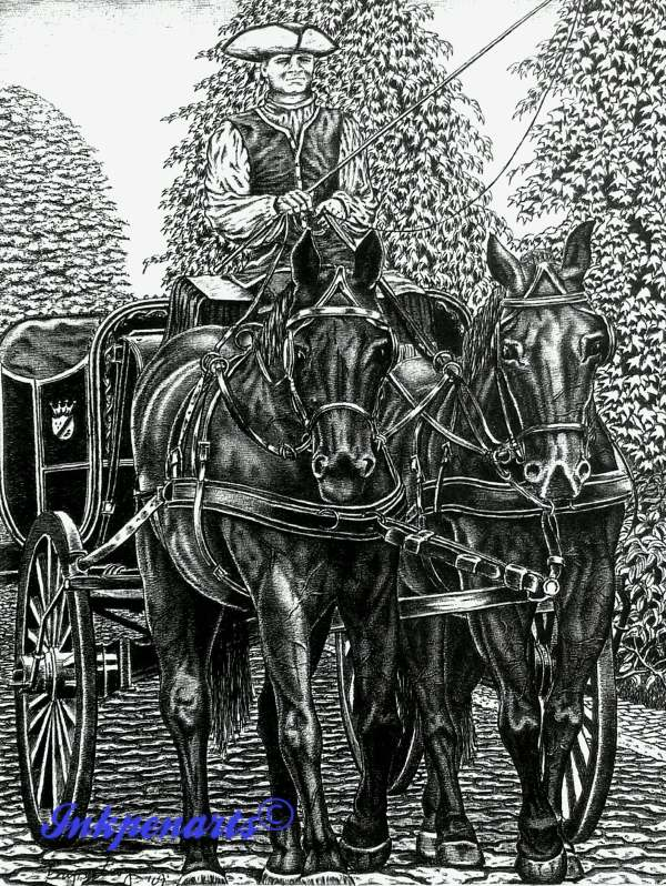 Colonial Pen and Ink Art