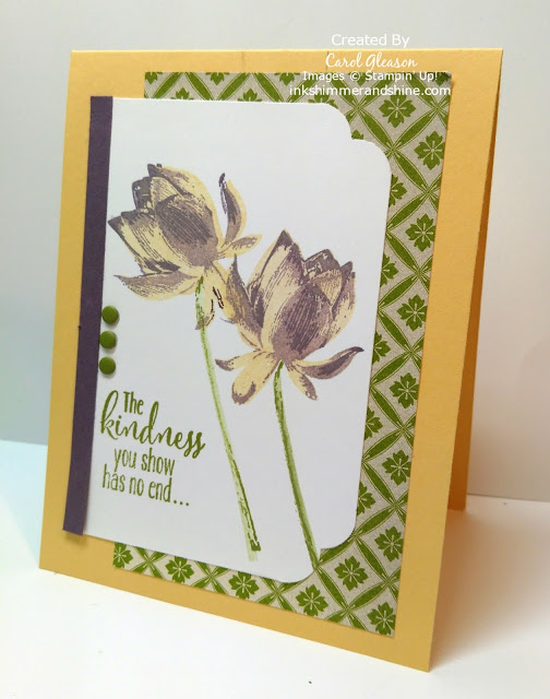 Endless Kindness Lotus Blossom Card in Perfect Plum, So Saffron and Old Olive