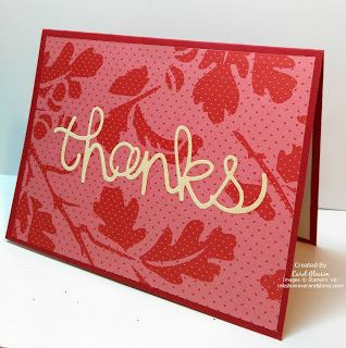 Thanks card with Hello You Thinlits dies and pretty paper