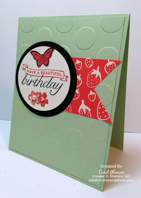 Stampin' Up! Birthday Blossoms card with Papillon Potpourri butterfly in Watermelon Wonder and Crisp Cantaloupe