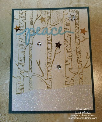 Photo 2 of Stampin' Up! gold-embossed Woodlands embossing folder and Christmas Greetings Thinlits
