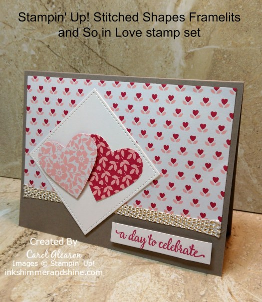 Hearts card with Stampin' Up! Stitched Shapes framelits