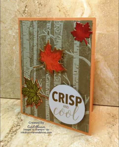 Fall card created with the Woodland embossing folder and Colorful Seasons leaves.