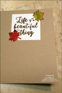 Inside of card with autumn leaves and sentiment Life is a Beautiful Thing