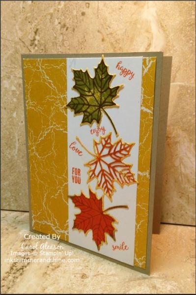 A fall card in crumb cake with color theory background, leaves colored with sponge daubers and Stampin' Up! ink colrs and words like happy, smile and enjoy - from the Stampin' Up! Tabs for Everything stamp set.